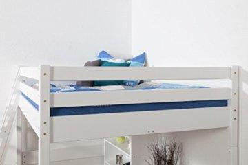 Kinderbett Hochbett Christoph Buche Vollholz massiv weiß lackiert inkl. Rollrost - 140 x 200 cm - 3