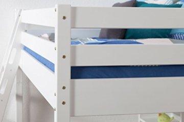 Kinderbett Hochbett Christoph Buche Vollholz massiv weiß lackiert inkl. Rollrost - 140 x 200 cm - 4