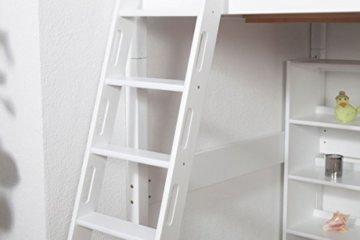 Kinderbett Hochbett Christoph Buche Vollholz massiv weiß lackiert inkl. Rollrost - 140 x 200 cm - 6
