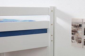 Kinderbett Hochbett Christoph Buche Vollholz massiv weiß lackiert inkl. Rollrost - 140 x 200 cm - 7
