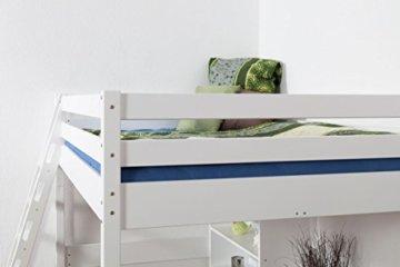 Kinderbett Hochbett Christoph Buche Vollholz massiv weiß lackiert inkl. Rollrost - 140 x 200 cm - 9