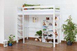 Kinderbett Hochbett/Kinderbett Dominik Buche Vollholz massiv Weiß lackiert inkl. Rollrost - 90 x 200 cm - 1