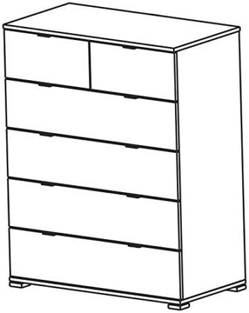 Kommode Laika weiß B 80 H 102 cm Kinderzimmer Jugendzimmer Schlafzimmer Babyzimmer Sideboard Anrichte Schrank Schubladenkommode Aufbewahrung - 2