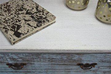 Kommode Schrank mit Schubladen bunt Landhaus Shabby Chic Vintage Weiß (H78 x B60 x T33 cm LV1009) - 3