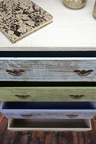 Kommode Schrank mit Schubladen bunt Landhaus Shabby Chic Vintage Weiß (H78 x B60 x T33 cm LV1009) - 4