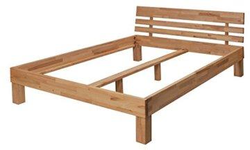Krokwood Julia Massivholzbett in Buche 140 x 200 cm FSC 100% Massiv Einzelbett, Natur geölt Buchebett, billig Holzbett mit Kopfteil, massivholz Bett vom Hersteller und kostenlose Lieferung - 2