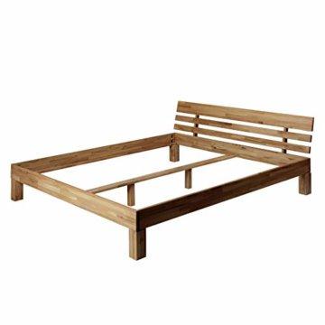 Krokwood Julia Massivholzbett in Eiche FSC 100% Massiv, Natur geölt Eichebett, billig Holzbett mit Kopfteil, massivholz Bett vom Hersteller (140 x 200 cm) - 2
