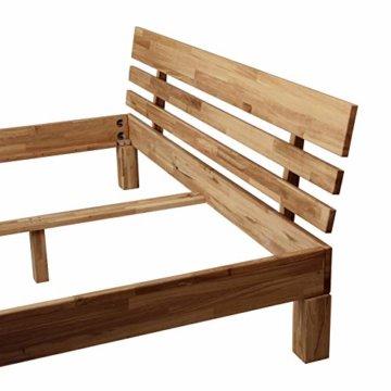 Krokwood Julia Massivholzbett in Eiche FSC 100% Massiv, Natur geölt Eichebett, billig Holzbett mit Kopfteil, massivholz Bett vom Hersteller (140 x 200 cm) - 3
