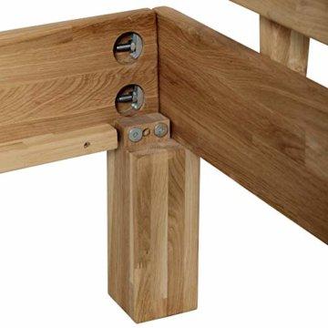 Krokwood Julia Massivholzbett in Eiche FSC 100% Massiv, Natur geölt Eichebett, billig Holzbett mit Kopfteil, massivholz Bett vom Hersteller (140 x 200 cm) - 4