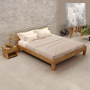 Krokwood Julia Massivholzbett in Eiche FSC 100% Massiv, Natur geölt Eichebett, billig Holzbett mit Kopfteil, massivholz Bett vom Hersteller (140 x 200 cm) - 1