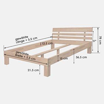 Krokwood Julia Massivholzbett in Eiche FSC 100% Massiv, Natur geölt Eichebett, billig Holzbett mit Kopfteil, massivholz Bett vom Hersteller (140 x 200 cm) - 5