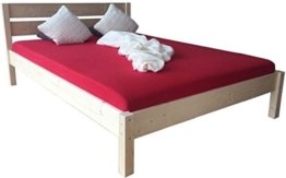 LIEGEWERK Massivholzbett Bett mit hohem Kopfteil Holz 90 100 120 140 160 180 200 x 200cm hergestellt in BRD, Holzbett (140cm x 200cm) - 1