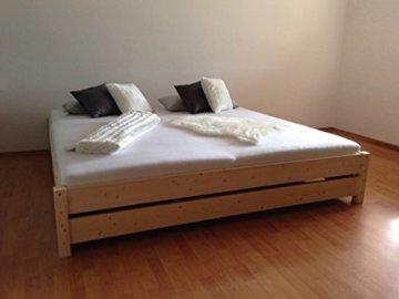 LIEGEWERK Premium Futon Bett Holz massiv Holzbett für hohe Matratzen 90 100 120 140 160 180 200 x 200cm hergestellt in BRD (180cm x 200cm) - 2
