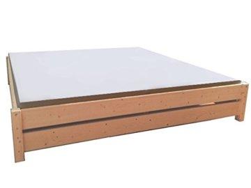 LIEGEWERK Premium Futon Bett Holz massiv Holzbett für hohe Matratzen 90 100 120 140 160 180 200 x 200cm hergestellt in BRD (180cm x 200cm) - 1
