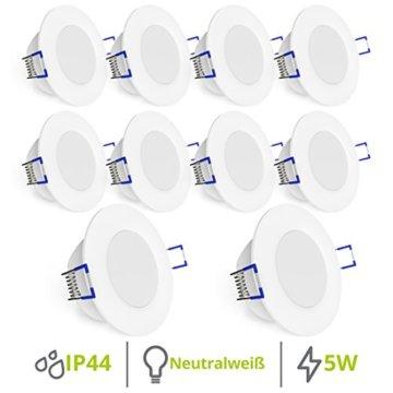 linovum® WEEVO IP44 LED Decken Einbauleuchten 10er Set extra flach - Strahler Spot neutralweiß für Bad, Küche, Möbel, Außen - 3
