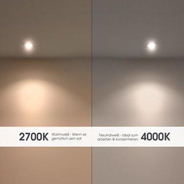 linovum® WEEVO IP44 LED Decken Einbauleuchten 10er Set extra flach - Strahler Spot neutralweiß für Bad, Küche, Möbel, Außen - 8