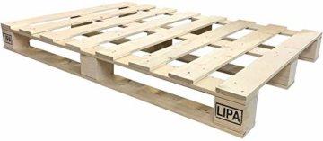 LIPA Palettenbett Bett Holz Massivholzbett 90 100 120 140 160 180 200 x 200cm, Palettenmöbel hergestellt in BRD (140x200) - 2