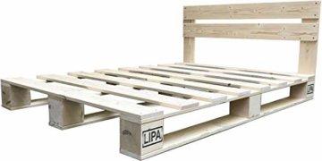 LIPA Palettenbett mit Kopfteil Massivholzbett Paletten Bett Holz 90 100 120 140 160 180 200 x 200cm hergestellt in BRD (140 x 200 cm) - 2