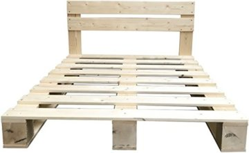 LIPA Palettenbett mit Kopfteil Massivholzbett Paletten Bett Holz 90 100 120 140 160 180 200 x 200cm hergestellt in BRD (140 x 200 cm) - 3