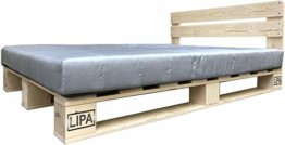 LIPA Palettenbett mit Kopfteil Massivholzbett Paletten Bett Holz 90 100 120 140 160 180 200 x 200cm hergestellt in BRD (140 x 200 cm) - 1
