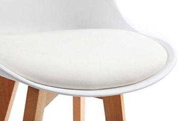 Meubletmoi 2Stück Design Barhocker im skandinavischen Stil, Beine Eiche massiv–Collection Bergen weiß - 3