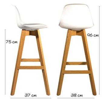 Meubletmoi 2Stück Design Barhocker im skandinavischen Stil, Beine Eiche massiv–Collection Bergen weiß - 4