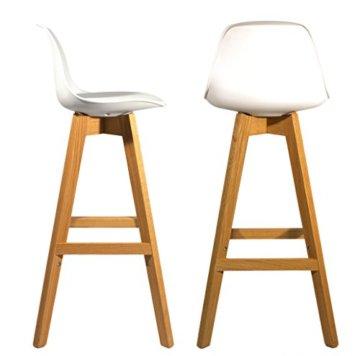Meubletmoi 2Stück Design Barhocker im skandinavischen Stil, Beine Eiche massiv–Collection Bergen weiß - 1