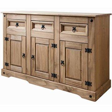 Möbel Anrichte Sideboard Kommode Stil 3 Türen 3 Schubladen gebeizt gewachst - 1
