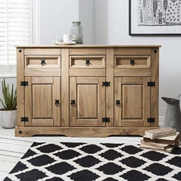 Möbel Anrichte Sideboard Kommode Stil 3 Türen 3 Schubladen gebeizt gewachst - 2