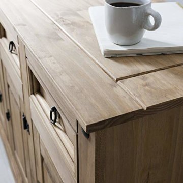 Möbel Anrichte Sideboard Kommode Stil 3 Türen 3 Schubladen gebeizt gewachst - 4