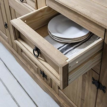 Möbel Anrichte Sideboard Kommode Stil 3 Türen 3 Schubladen gebeizt gewachst - 5