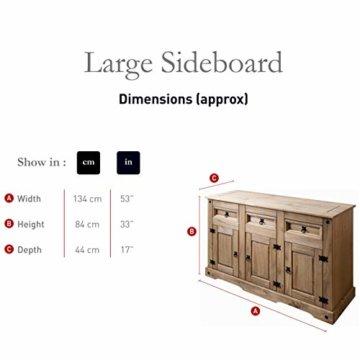 Möbel Anrichte Sideboard Kommode Stil 3 Türen 3 Schubladen gebeizt gewachst - 6