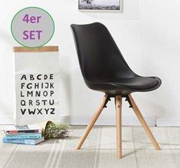 OYE HOYE Stilvolle Retro Artisan Esszimmerstühle/Bürostühle - 4er Set - mit Robustem Buchenholz, weich Gepolstertem Sitz - langlebig - 002-Schwarz - 1
