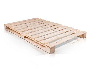 PALETTI Palettenbett Massivholzbett Holzbett Bett aus Paletten mit 11 Leisten, Palettenmöbel - 2