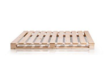 PALETTI Palettenbett Massivholzbett Holzbett Bett aus Paletten mit 11 Leisten, Palettenmöbel - 3