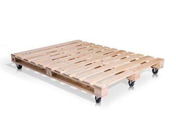 PALETTI Palettenbett Massivholzbett Holzbett Bett aus Paletten mit 11 Leisten, Palettenmöbel - 4