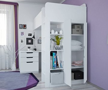 polini kids hochbett mit kleiderschrank und. Black Bedroom Furniture Sets. Home Design Ideas