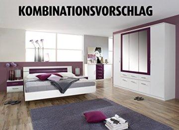 Rauch Bett 180 x 200 cm mit Nachtkommoden Weiß, Absetzung Brombeer, Stellmaß inkl. Kommoden LxBxH 213x285x82 cm - 3
