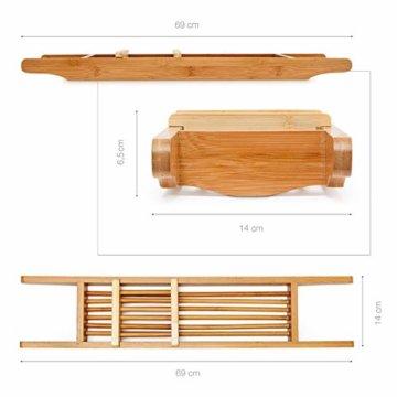 Relaxdays Badewannenablage aus Bambus HxBxT: ca. 6,5 x 69 x 14 cm Badewannenbrücke mit verstellbarer Seifenschale Badewannenbrett als Wannenregal und Badewannenbutler praktischer Wannenaufsatz, natur - 2