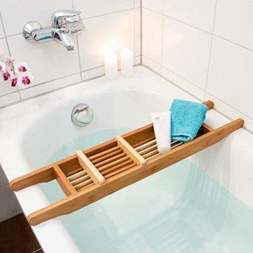 Relaxdays Badewannenablage aus Bambus HxBxT: ca. 6,5 x 69 x 14 cm Badewannenbrücke mit verstellbarer Seifenschale Badewannenbrett als Wannenregal und Badewannenbutler praktischer Wannenaufsatz, natur - 1