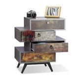 Relaxdays Vintage Kommode 4 Schubladen, originelles Lowboard in Betonoptik, Schublade mit Motiv, HBT: 68x60x40 cm, grau - 1
