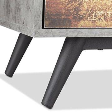 Relaxdays Vintage Kommode 4 Schubladen, originelles Lowboard in Betonoptik, Schublade mit Motiv, HBT: 68x60x40 cm, grau - 8