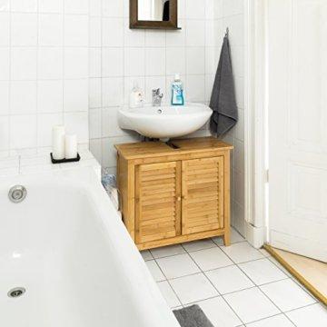 Relaxdays Waschbeckenunterschrank LAMELL aus Bambus H x B x T: ca. 60 x 67 x 30cm Unterschrank fürs Waschbecken oder den Waschtisch Waschtischunterschrank aus Holz mit 2 Türen in Lamellen-Optik, natur - 2