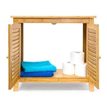 Relaxdays Waschbeckenunterschrank LAMELL aus Bambus H x B x T: ca. 60 x 67 x 30cm Unterschrank fürs Waschbecken oder den Waschtisch Waschtischunterschrank aus Holz mit 2 Türen in Lamellen-Optik, natur - 4