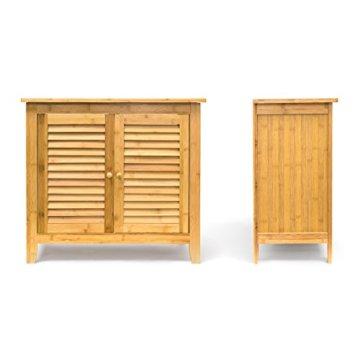 Relaxdays Waschbeckenunterschrank LAMELL aus Bambus H x B x T: ca. 60 x 67 x 30cm Unterschrank fürs Waschbecken oder den Waschtisch Waschtischunterschrank aus Holz mit 2 Türen in Lamellen-Optik, natur - 5