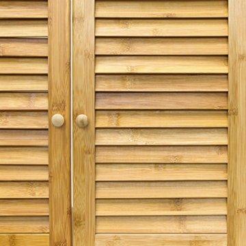Relaxdays Waschbeckenunterschrank LAMELL aus Bambus H x B x T: ca. 60 x 67 x 30cm Unterschrank fürs Waschbecken oder den Waschtisch Waschtischunterschrank aus Holz mit 2 Türen in Lamellen-Optik, natur - 7