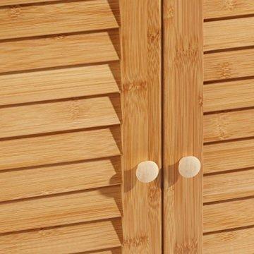 Relaxdays Waschbeckenunterschrank LAMELL aus Bambus H x B x T: ca. 60 x 67 x 30cm Unterschrank fürs Waschbecken oder den Waschtisch Waschtischunterschrank aus Holz mit 2 Türen in Lamellen-Optik, natur - 8