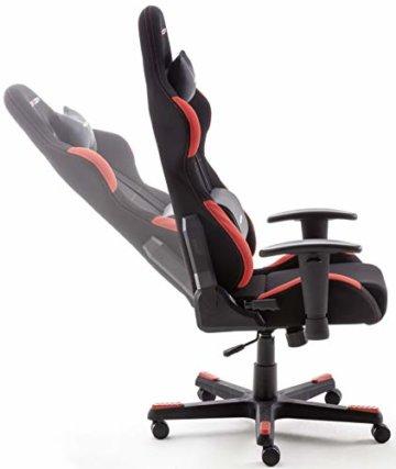Robas Lund OH/FD01/NR DX Racer 1 Gaming-/ Schreibtisch-/ Bürostuhl, schwarz/rot, 78 x 124-134 x 52 cm - 4