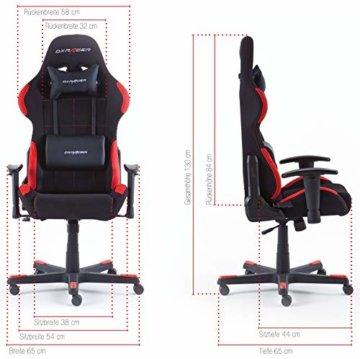 Robas Lund OH/FD01/NR DX Racer 1 Gaming-/ Schreibtisch-/ Bürostuhl, schwarz/rot, 78 x 124-134 x 52 cm - 6