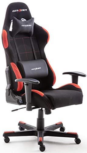 Robas Lund OH/FD01/NR DX Racer 1 Gaming-/ Schreibtisch-/ Bürostuhl, schwarz/rot, 78 x 124-134 x 52 cm - 1